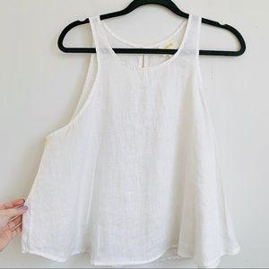 Maeve | Anthropologie White Linen Tank Top